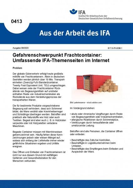 Gefahrenschwerpunkt Frachtcontainer: Umfassende IFA-Themenseiten im Internet (Aus der Arbeit des IFA