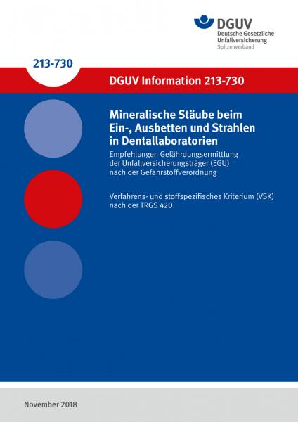 Mineralische Stäube beim Ein-, Ausbetten und Strahlen in Dentallaboratorien - Empfehlungen Gefährdun