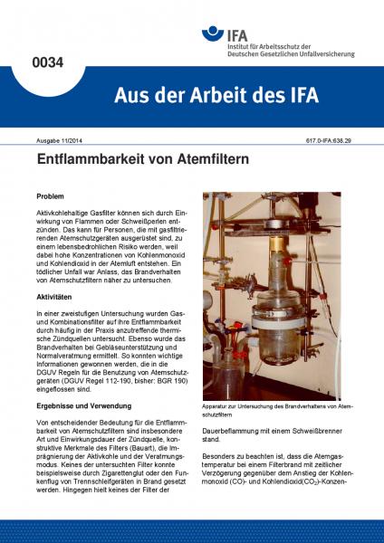 Entflammbarkeit von Atemfiltern. Aus der Arbeit des IFA Nr. 0034