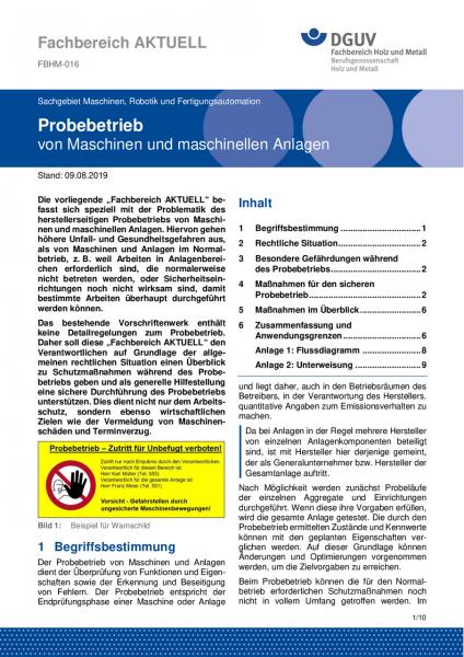 """FBHM-016 """"Probebetrieb von Maschinen und maschinellen Anlagen"""""""