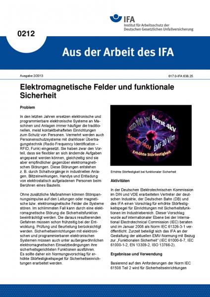 Elektromagnetische Felder und funktionale Sicherheit. Aus der Arbeit des IFA Nr. 0212