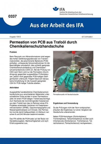 Permeation von PCB aus Trafoöl durch Chemikalienschutzhandschuhe (Aus der Arbeit des IFA Nr. 0337)