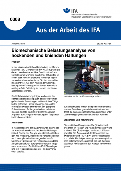 Biomechanische Belastungsanalyse von hockenden und knienden Haltungen. Aus der Arbeit des IFA Nr. 03