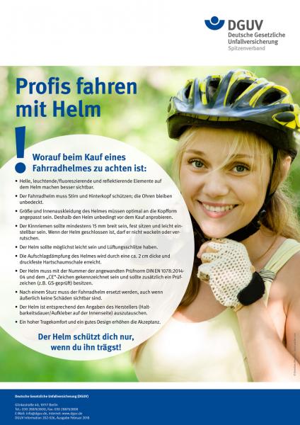 Plakat: Profis fahren mit Helm