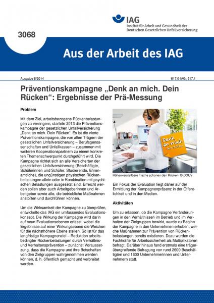"""Präventionskampagne """"Denk an mich. Dein Rücken"""": Ergebnisse der Prä-Messung (Aus der Arbeit des IAG"""