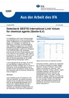 Datenbank GESTIS International Limit Values for chemical agents (Gestis-ILV) (Aus der Arbeit des IFA Nr. 0265)