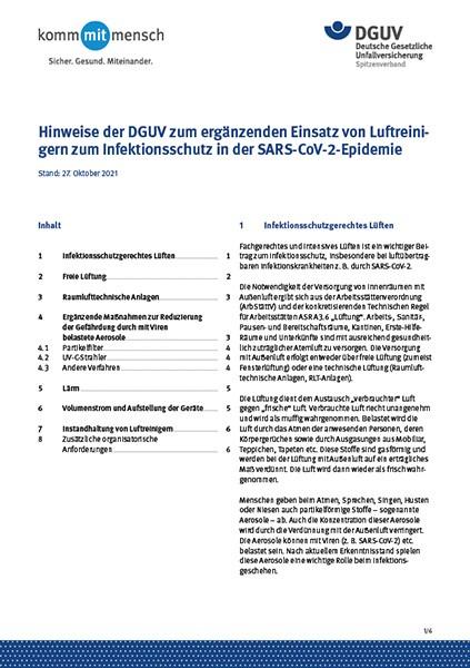 Hinweise der DGUV zum ergänzenden Einsatz von Luftreinigern zum Infektionsschutz in der SARS-CoV-2-E