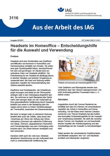 Headsets im Homeoffice – Entscheidungshilfe für die Auswahl und Verwendung (Aus der Arbeit des IAG 3