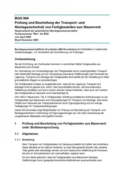 Prüfung und Beurteilung der Transport- und Montagesicherheit von Fertigbauteilen aus Mauerwerk