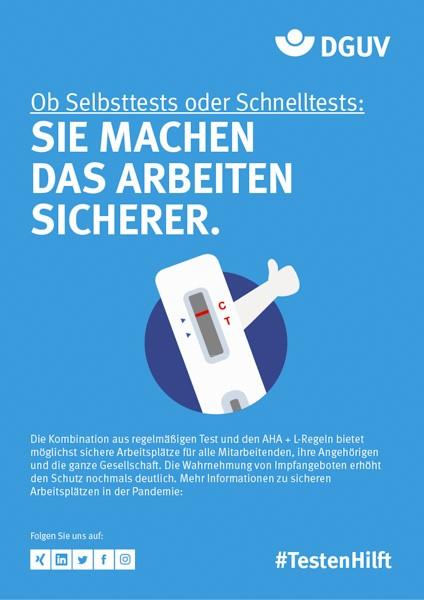 """Plakat #TestenHilft, Motiv """"Selbsttest, Schnelltest"""" (DGUV) Hochformat"""