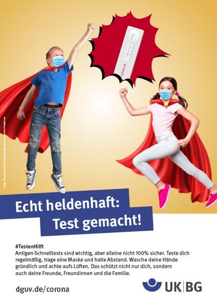 "Plakat #TestenHilft, Motiv ""Echt heldenhaft"" (UK|BG)"