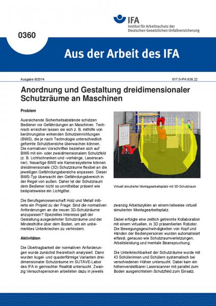 Anordnung und Gestaltung dreidimensionaler Schutzräume an Maschinen (Aus der Arbeit des IFA Nr. 0360