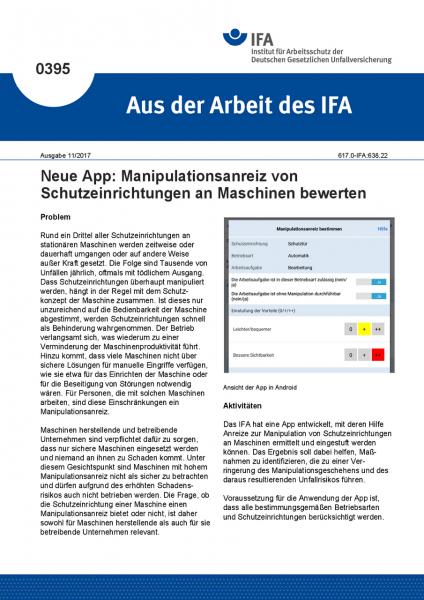 Neue App: Manipulationsanreiz von Schutzeinrichtungen an Maschinen bewerten (Aus der Arbeit des IFA