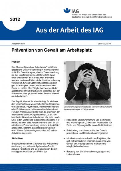 Prävention von Gewalt am Arbeitsplatz. Aus der Arbeit des IAG Nr. 3012