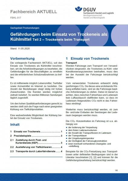 """FBHL-017 """"Gefährdungen beim Einsatz von Trockeneis als Kühlmittel Teil 2 – Trockeneis beim Transport"""