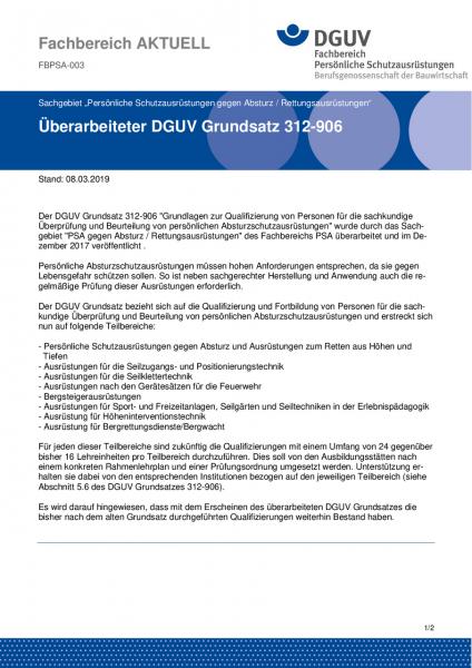 """FBPSA-003 """"Überarbeiteter DGUV Grundsatz 312-906"""""""