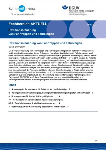 """FBHL-007 """"Revisionssteuerung von Fahrtreppen und Fahrsteigen"""""""