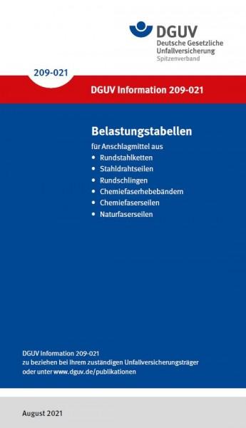 Belastungstabellen für Anschlagmittel aus Rundstahlketten, Stahldrahtseilen, Rundschlingen, Chemiefa
