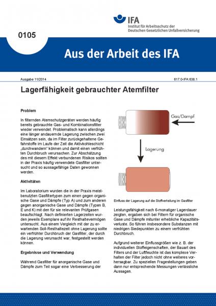 Lagerfähigkeit gebrauchter Atemfilter. Aus der Arbeit des IFA Nr. 0105