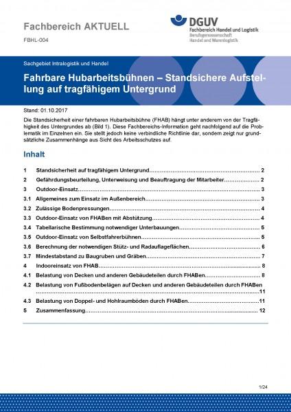 """FBHL-004 """"Fahrbare Hubarbeitsbühnen - Standsichere Aufstellung auf tragfähigem Untergrund"""""""