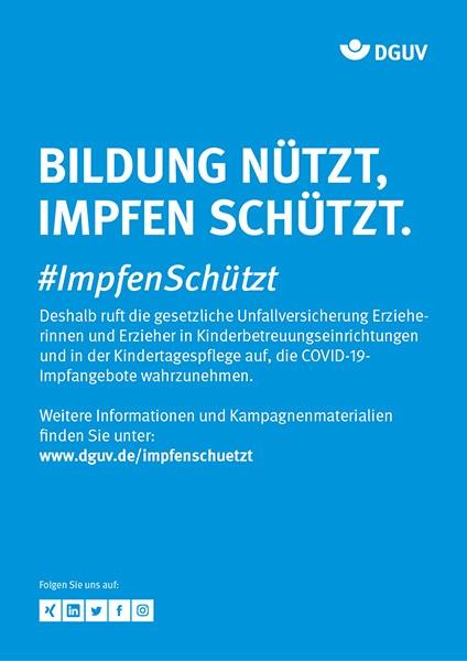"""Plakat #ImpfenSchützt """"Bildung nützt, Impfen schützt."""" (DGUV) Hochformat"""