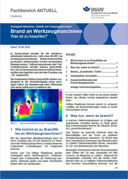 """FBHM-043 """"Brand an Werkzeugmaschinen"""""""