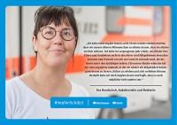 Plakat #ImpfenSchützt, Motiv: Eva Handschuh (DGUV und BG Kliniken) Querformat