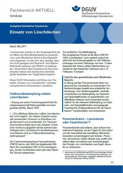 """FBFHB-006 """"Einsatz von Löschdecken"""""""