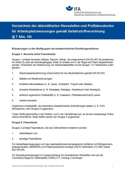 Verzeichnis der akkreditierten Messstellen und Prüflaboratorien für Arbeitsplatzmessungen gemäß Gefa