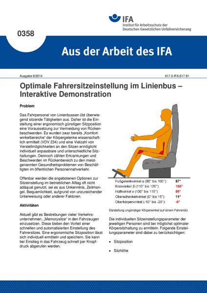 Optimale Fahrersitzeinstellung im Linienbus – Interaktive Demonstration (Aus der Arbeit des IFA Nr.