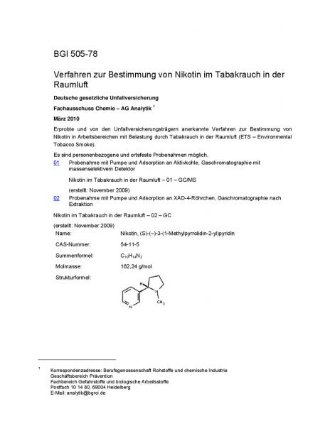 Verfahren zur Bestimmung von Nikotin im Tabakrauch in der Raumluft
