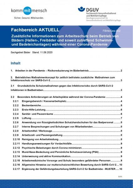 """FBWoGes-002 """"Zusätzliche Informationen zum Arbeitsschutz beim Betrieb von Bädern (Hallen-, Freibäder"""