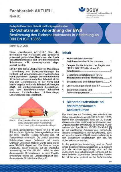 "FBHM-072 ""3D-Schutzraum: Anordnung der BWS - Bestimmungen des Sicherheitsabstands in Anlehnung an DI"