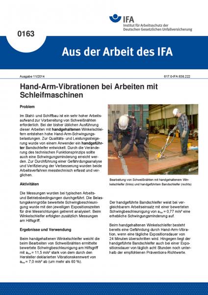 Hand-Arm-Vibrationen bei Arbeiten mit Schleifmaschinen. Aus der Arbeit des IFA Nr. 0163
