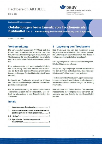 """FBHL-018 """"Gefährdungen beim Einsatz von Trockeneis als Kühlmittel Teil 3 – Handhabung bei Konfektion"""