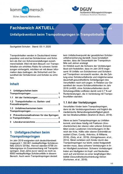 """FBBE-004 """"Unfallprävention beim Trampolinspringen in Trampolinhallen"""""""