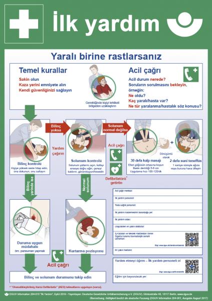Erste Hilfe (Plakat, DIN A2, türkisch) ilk yardim