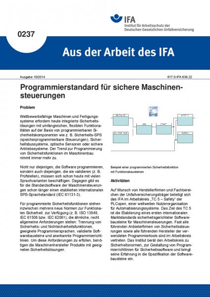 Programmierstandard für sichere Maschinensteuerungen. Aus der Arbeit des IFA Nr. 0237