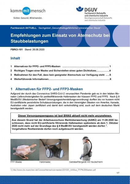 """FBRCI-101 """"Empfehlungen zum Einsatz von Atemschutz bei Staubbelastungen"""""""