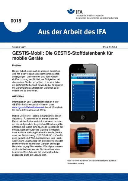 GESTIS-Mobil: Die GESTIS-Stoffdatenbank für mobile Geräte. Aus der Arbeit des IFA Nr. 0018