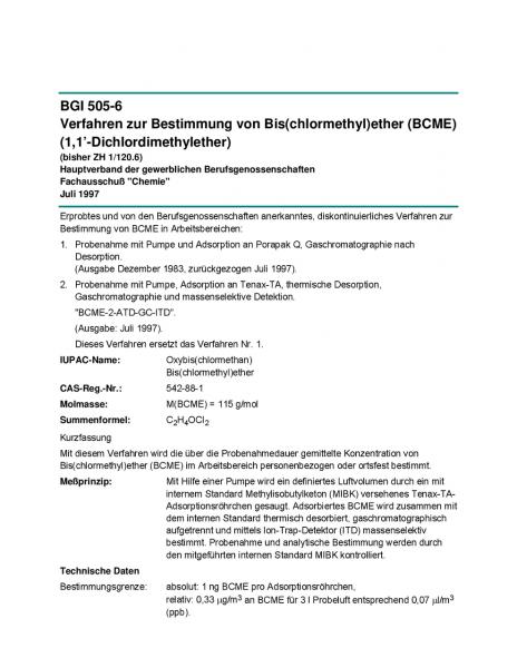 Verfahren zur Bestimmung von Bis(chlormethyl)ether (BCME) (1,1'-Dichlordimethylether)