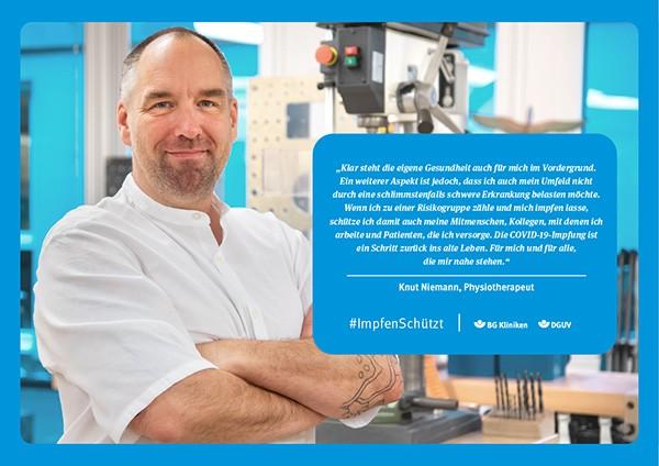 Plakat #ImpfenSchützt, Motiv: Knut Niemann (DGUV und BG Kliniken) Querformat