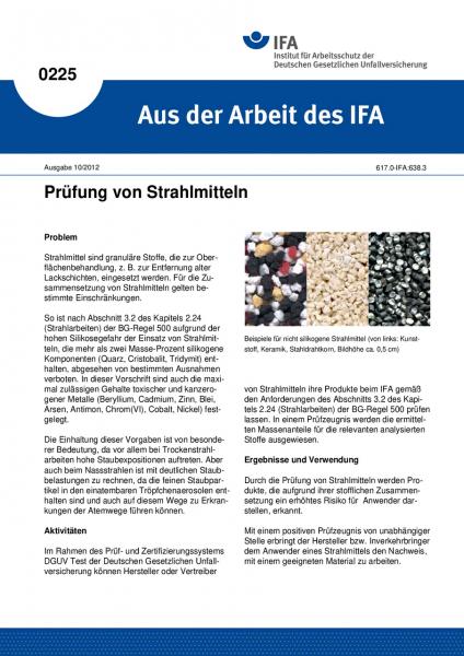 Prüfung von Strahlmitteln. Aus der Arbeit des IFA Nr. 0225