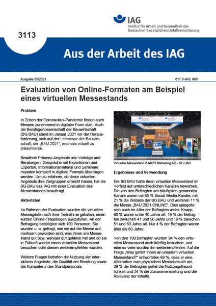 Evaluation von Online-Formaten am Beispiel eines virtuellen Messestands (Aus der Arbeit des IAG 3113