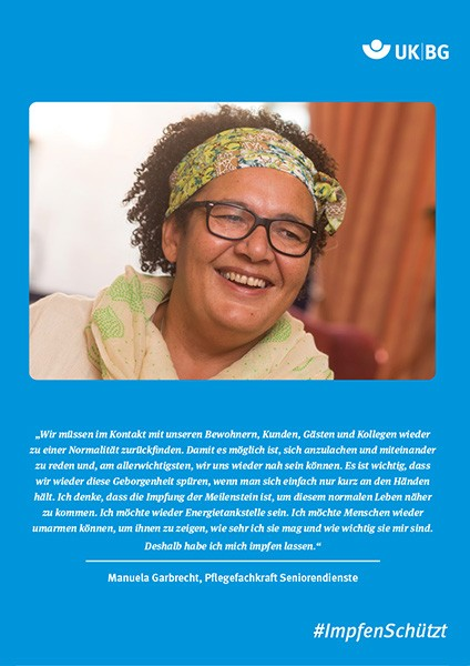 Plakat #ImpfenSchützt, Motiv: Manuela Garbrecht (UK|BG und BG Kliniken) Hochformat