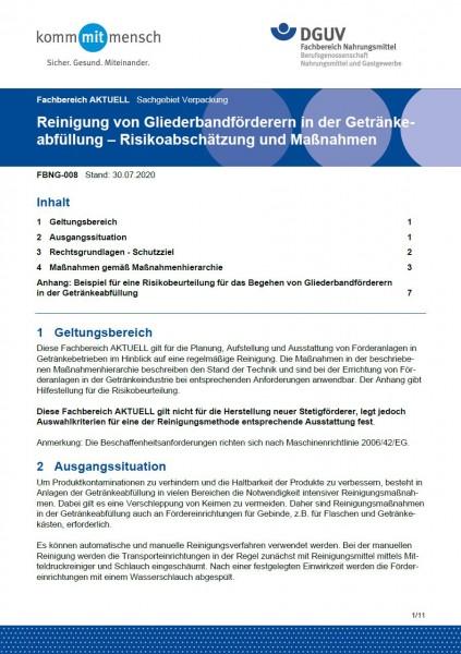 """FBNG-008 """"Reinigung von Gliederbandförderern in der Getränkeabfüllung – Risikoabschätzung und Maßnah"""