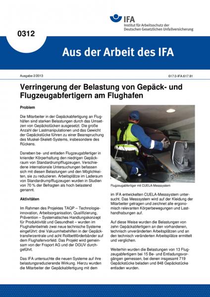 Verringerung der Belastung von Gepäck- und Flugzeugabfertigern am Flughafen. Aus der Arbeit des IFA