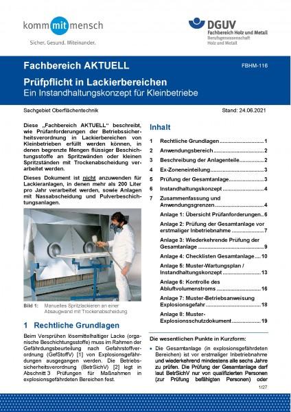 """FBHM-116 """"Prüfpflicht in Lackierbereichen - Ein Instandhaltungskonzept für Kleinbetriebe"""""""