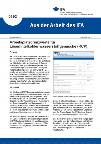 Arbeitsplatzgrenzwerte für Lösemittelkohlenwasserstoffgemische (RCP) (Aus der Arbeit des IFA Nr. 039