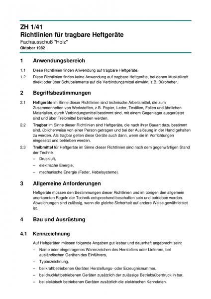 Richtlinien für tragbare Heftgeräte